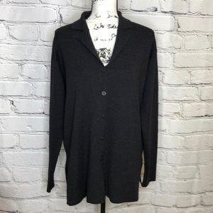 Eileen Fisher 100% Button Down Collared Cardigan - Dark Gray - size Medium